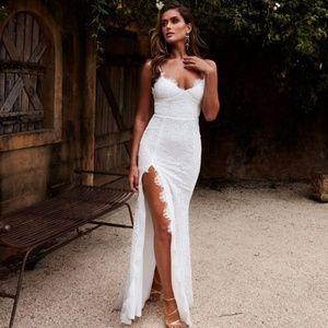 white lace dress split thigh